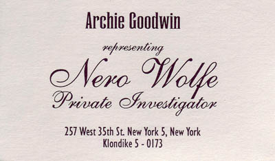 Archie Business Card from the Set