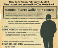 Mamouth Nero Wolfe Quiz Contest