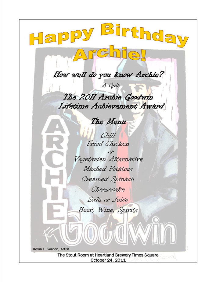 Archie Birthday Menu-Program