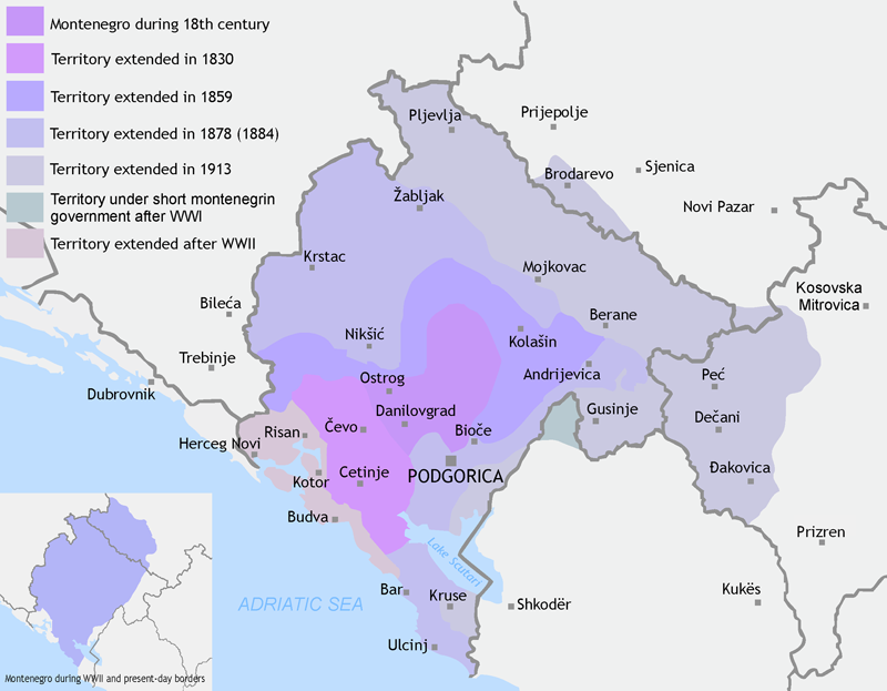 Montenegro borders 19th centry thru present